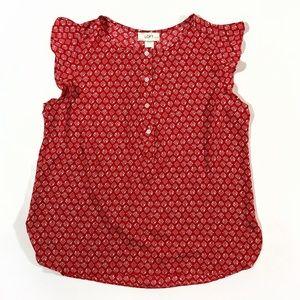Ann Taylor LOFT ruffle button petite red tank top
